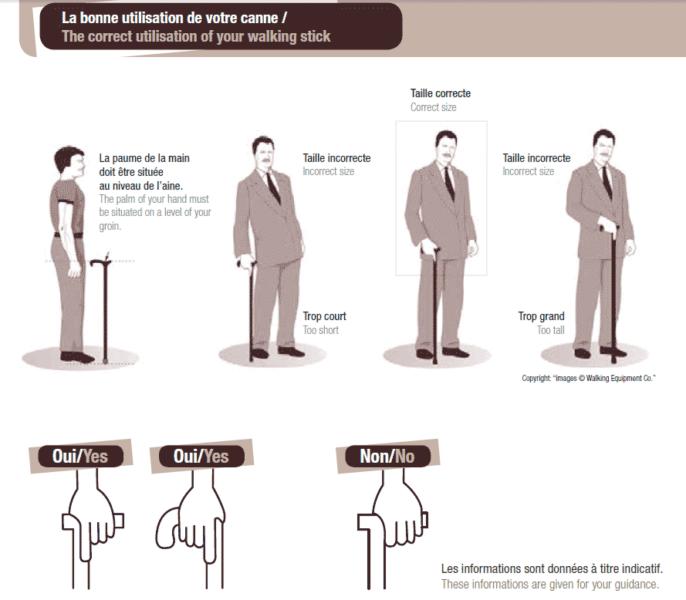 Planche de dessins illustrant comment bien utiliser et régler une canne de marche