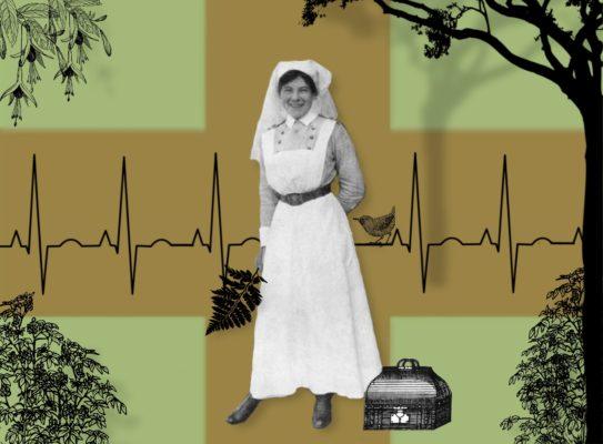 Photographie 1900 d'une infirmiere devant un fond avec une croix rouge et entourée d'llistration de leurs, d'un arbre une sacoche et un oiseau perché a coté d'elle
