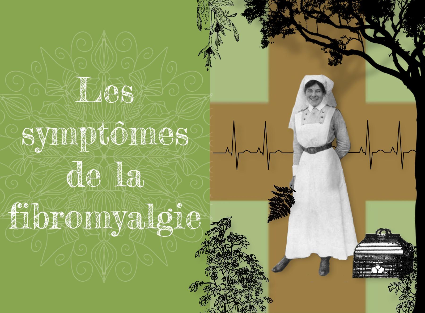 Photographie 1900 d'une infirmiere devant un fond avec une croix rouge et entourée d'llistration de leurs, d'un arbre une sacoche