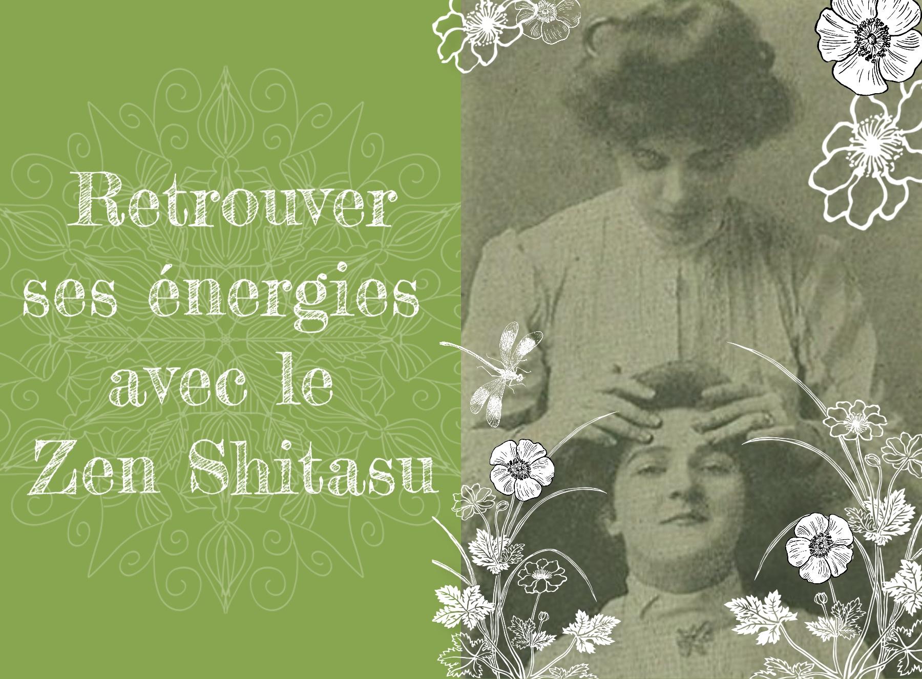 Photographie 1900 d'une femme qui masse le visage d'une autre entiurées par des illustration de fleurs et d'une libellule
