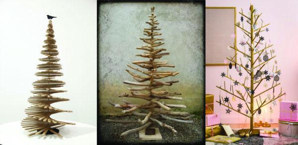 3 photos de proposition d'alternative au sapin classique ici 3 sapins en bois